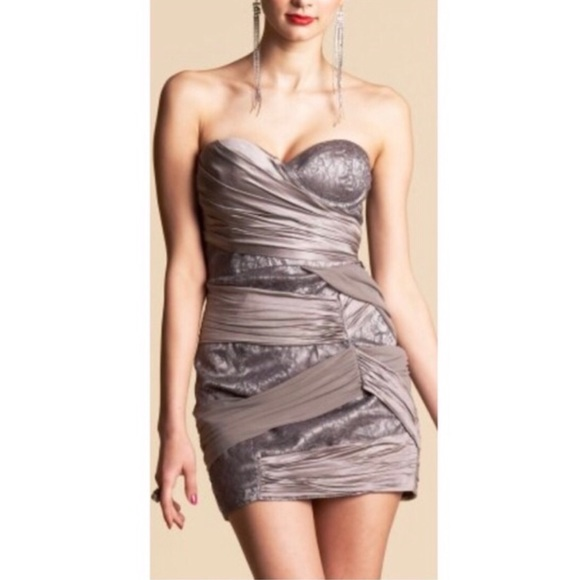 bebe Dresses & Skirts - Bebe Grey Strapless Wrapped Mixed Lace Dress XS